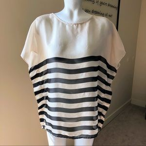 The Limited Sheer Black & Cream Stripped Top - Med
